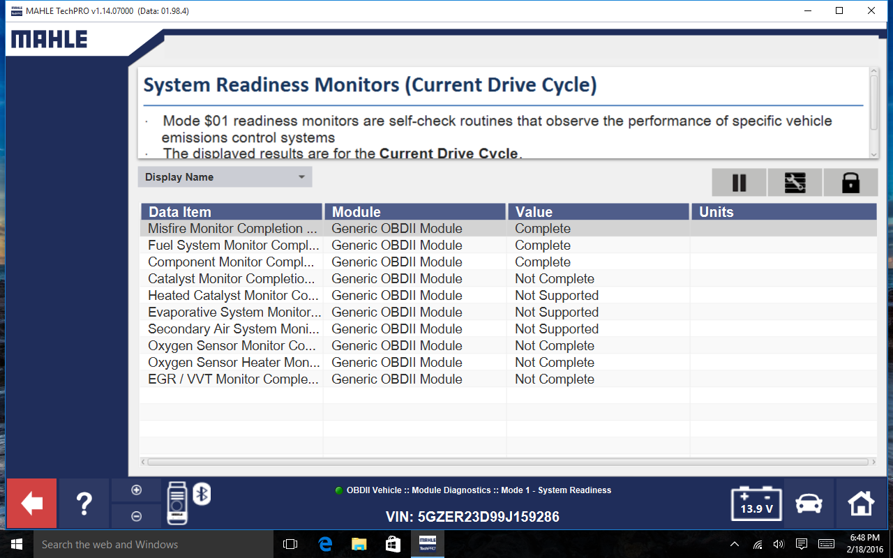Figure 7 - Quick readiness monitor check feature.