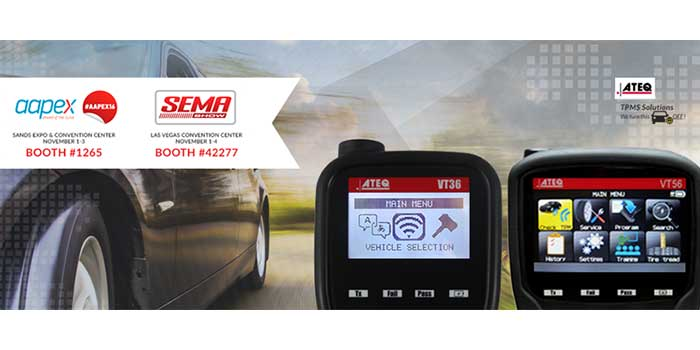 ATEQ TPMS Tools, LC invites guests to visit booths for the 2016 SEMA and AAPEX trade shows in Las Vegas.