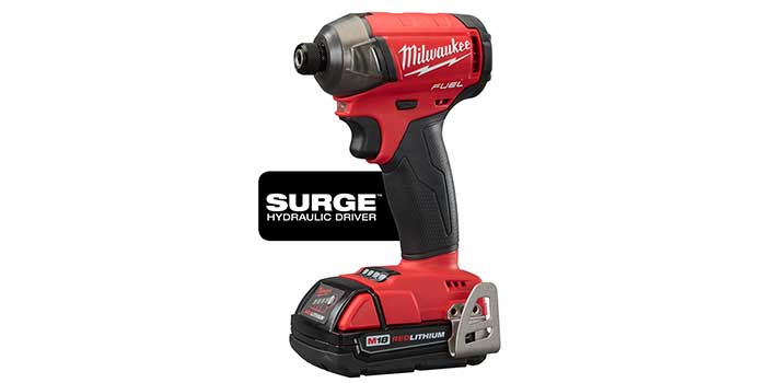 """Milwaukee Tool introduces the new M18 FUEL SURGE ¼"""" Hex Hydraulic Driver. The SURGE uses a technology called FLUID-DRIVE Hydraulic Powertrain, which allows it to operate 50% quieter, with 3X less vibration, and achieve longer sustained torque compared to standard impact drivers."""