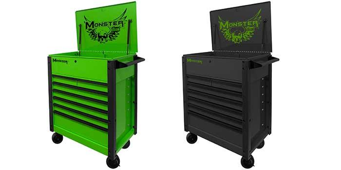"monster debuts 35"" pro 7-drawer flip-top service cart"