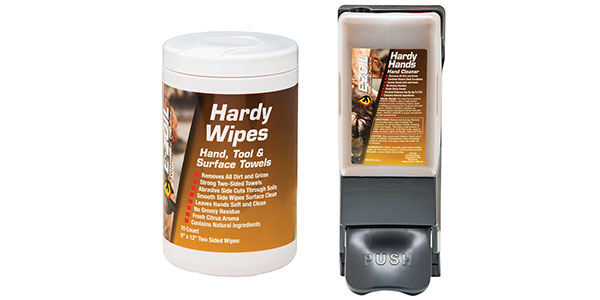 E-ZOIL Hardy Hands hand cleaner and Hardy Wipes