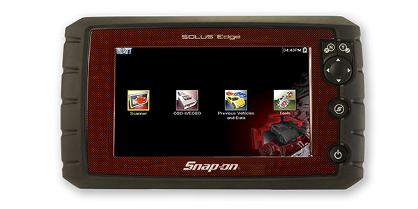 limited edition SOLUS Edge scan tool- a special carbon fiber style, red housing and black rubber cushioned handgrip