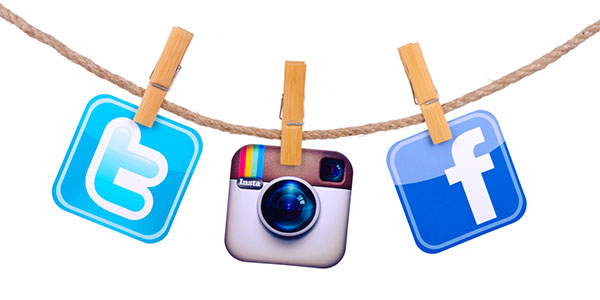 facebook, instagram and twitter icons