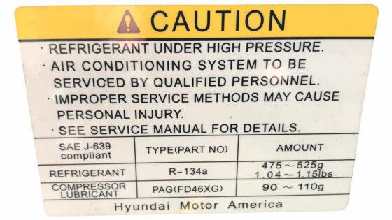 A/C label refrigerant
